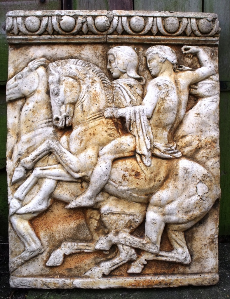 Classical Trojan warriors on horses